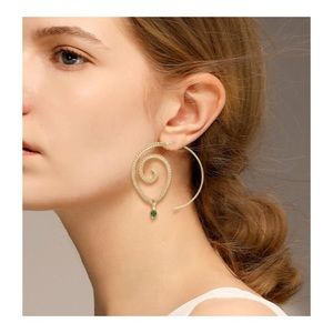 Beautiful spiral gold earrings